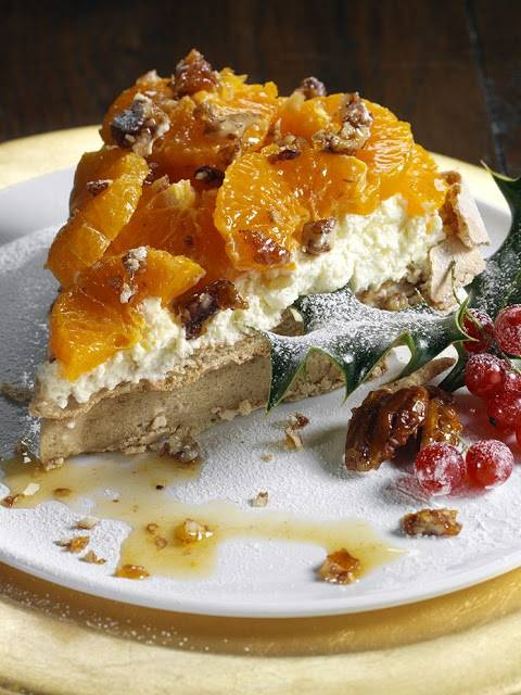 Sticky Brown Sugar Pavlova With Spiced Clementines And Pecan Praline