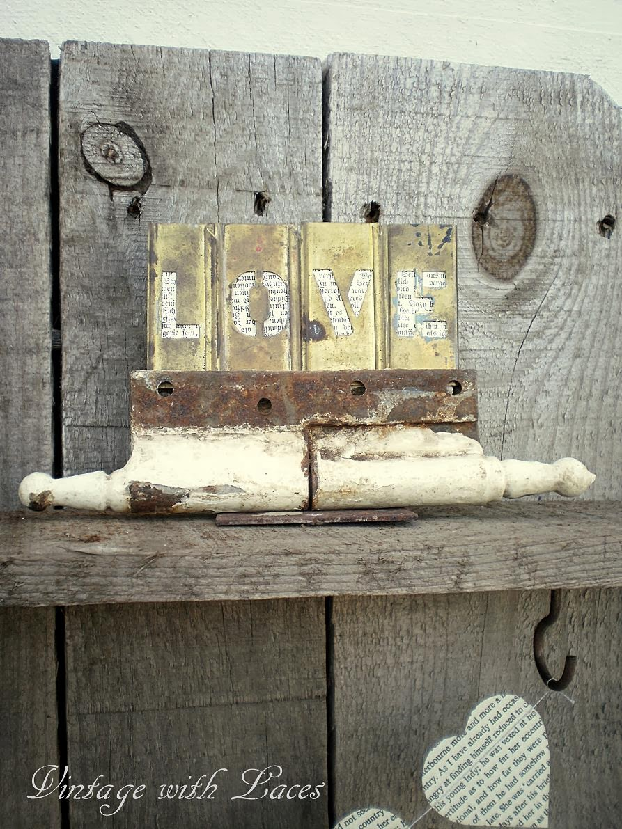 Rusty Hinge as Holder for Letter Stencils LOVE