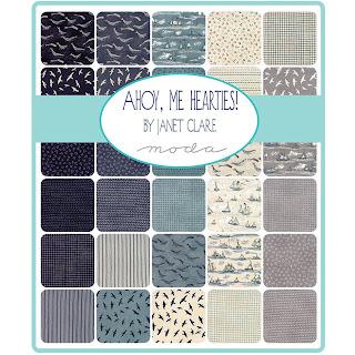 Moda Ahoy Me Hearties Fabric by Janet Clare for Moda Fabrics