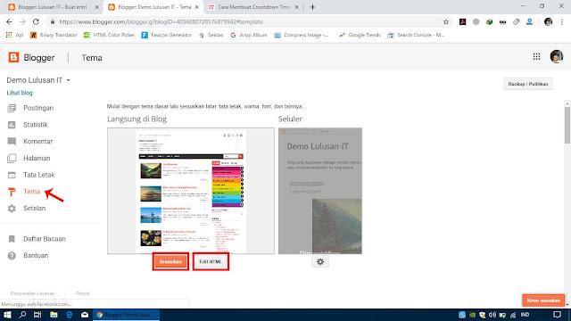 Pilih Sesuaikan atau Edit HTML untuk Mengedit Tampilan Blog
