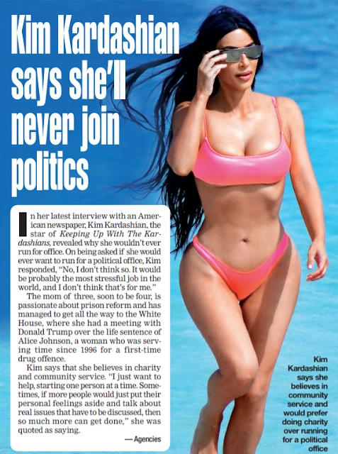 Kim Kardashian says she'll never join politics