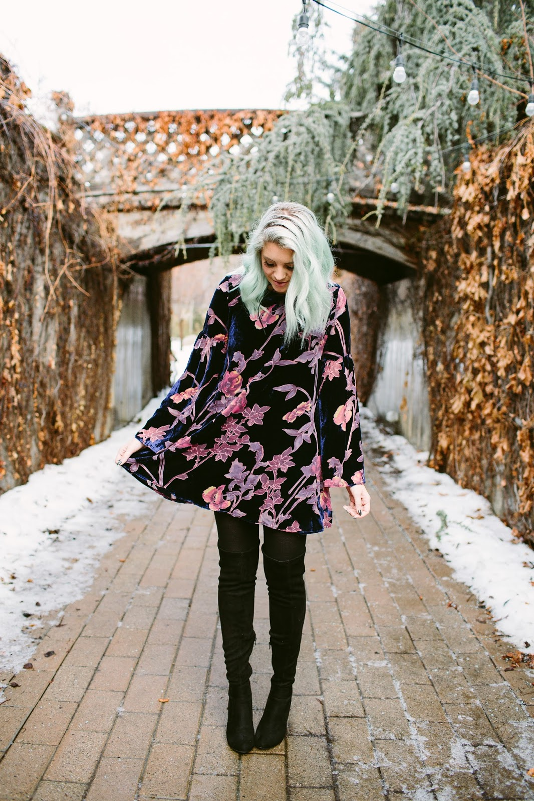 Velvet Dress, Floral Dress, Modest Outfit