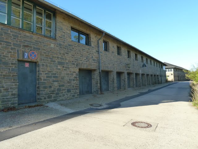 Barracks with garagedoors at Ordensburg Vogelsang Germany