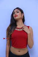 Telugu Actress Nishi Ganda Stills in Red Blouse and Black Skirt at Tik Tak Telugu Movie Audio Launch .COM 0099.JPG