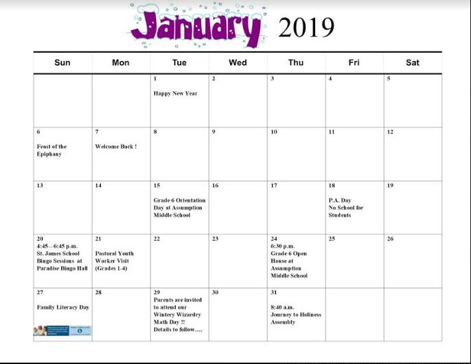Catholic Calendar January 2019 St. James Catholic Elementary School News and Events: January 2019