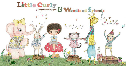 whimsical illustrations of Little Curly with her Woodland friends in the forest