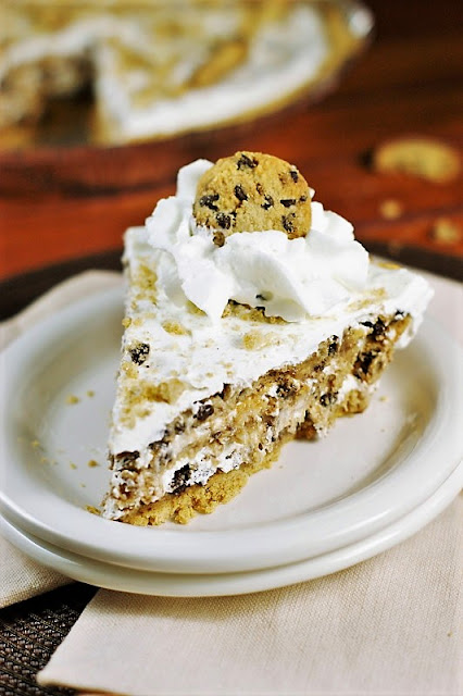 No-Bake Chocolate Chip Cookie Pie Image ~ Four simple ingredients come together to create one delicious No-Bake Chocolate Chip Cookie Pie.  And you won't believe how easy it is!
