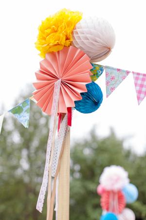 decoration fanions boule papier pompon