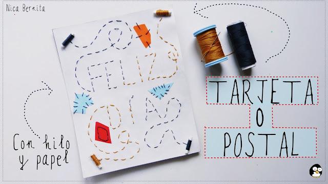 Tarjeta FELIZ DÍA (día del padre, día de la madre) manualidad con papel e hilo Nica Bernita