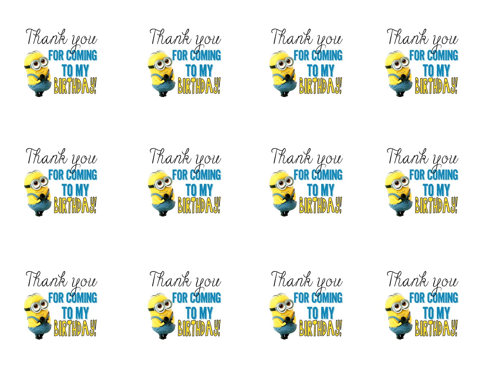 photograph relating to You Re One in a Minion Printable called get together like tags thank by yourself tags printable templates. 2016