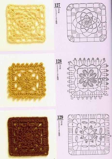 Motivos Quadrados (Squares) de  Crochê Com Gráficos