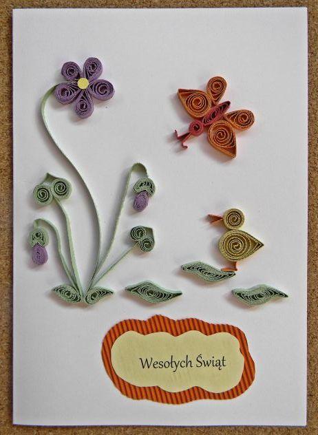 kwiaty, kaczka, kartka, Wielkanoc