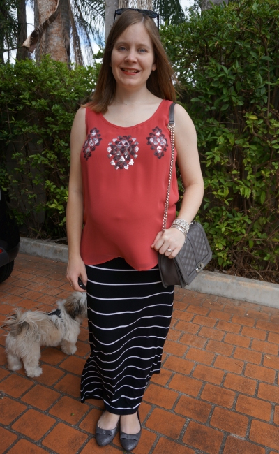 Away From Blue | Third Trimester untucked tank stripe maxi skirt OOTD