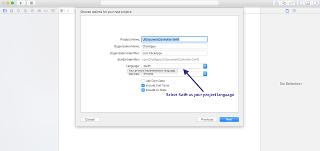 Change project language to swift