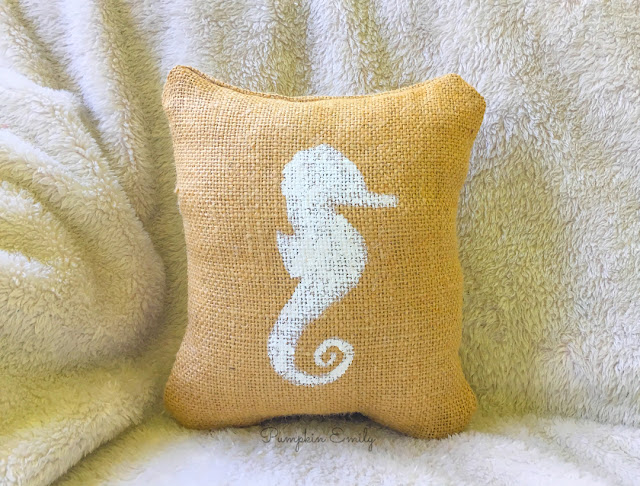 DIY Beach Burlap Pillow