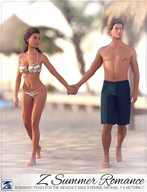 Z Summer Romance - Poses for Genesis 3 Male - Female/Michael 7 - Victoria 7