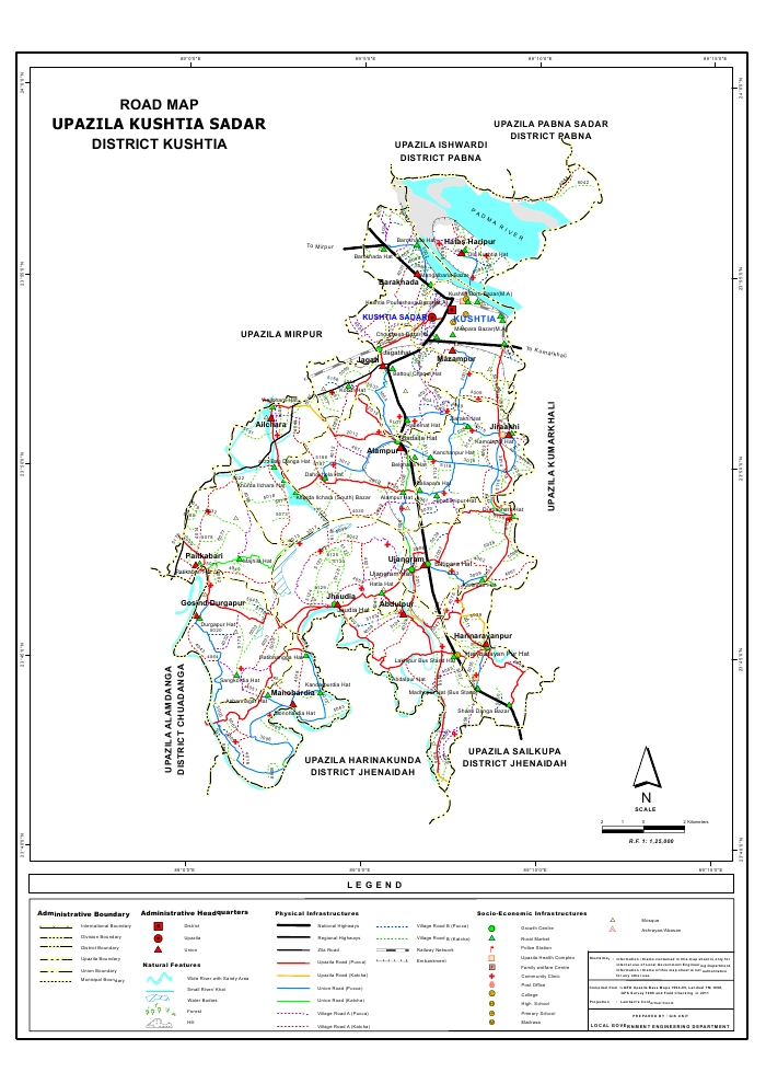Kushtia Sadar Upazila Road Map Kushtia District Bangladesh