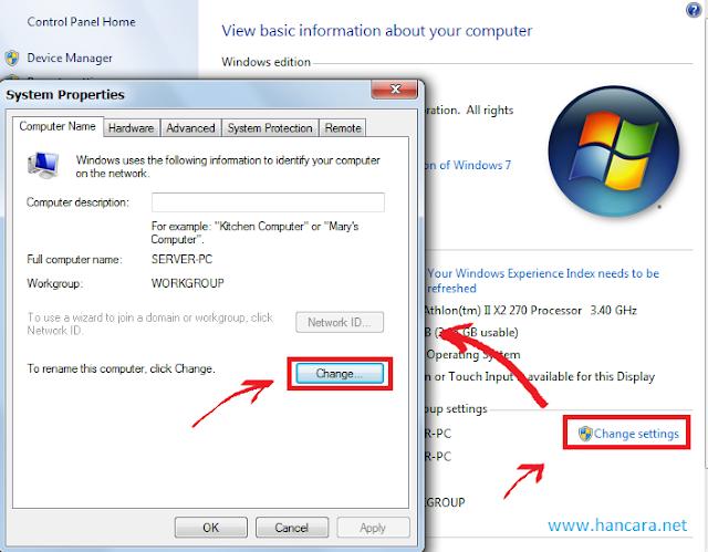 Mengganti nama PC semua Windows