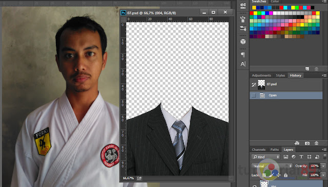 Cara praktis mengganti baju dengan jas di photoshop