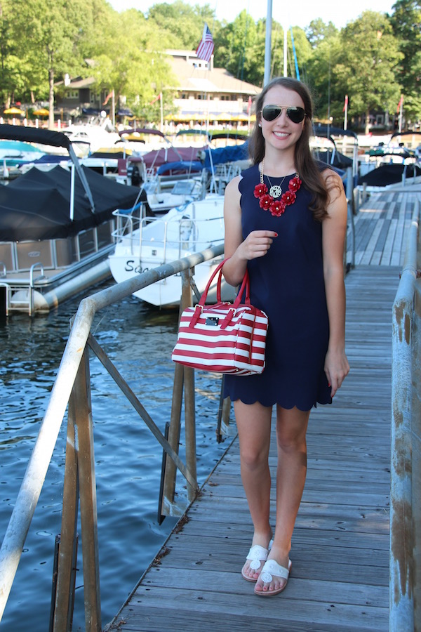 Gimme Glamour: Scallops & Stripes Forever. Scalloped dress, striped Kate Spade bag, rose necklace.