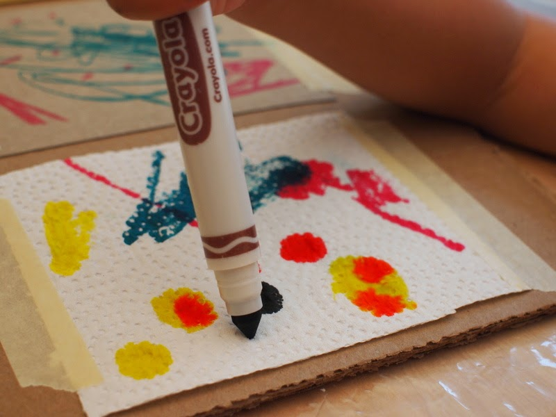 make discoveries about materials:  marker spreads when drawn on paper towel