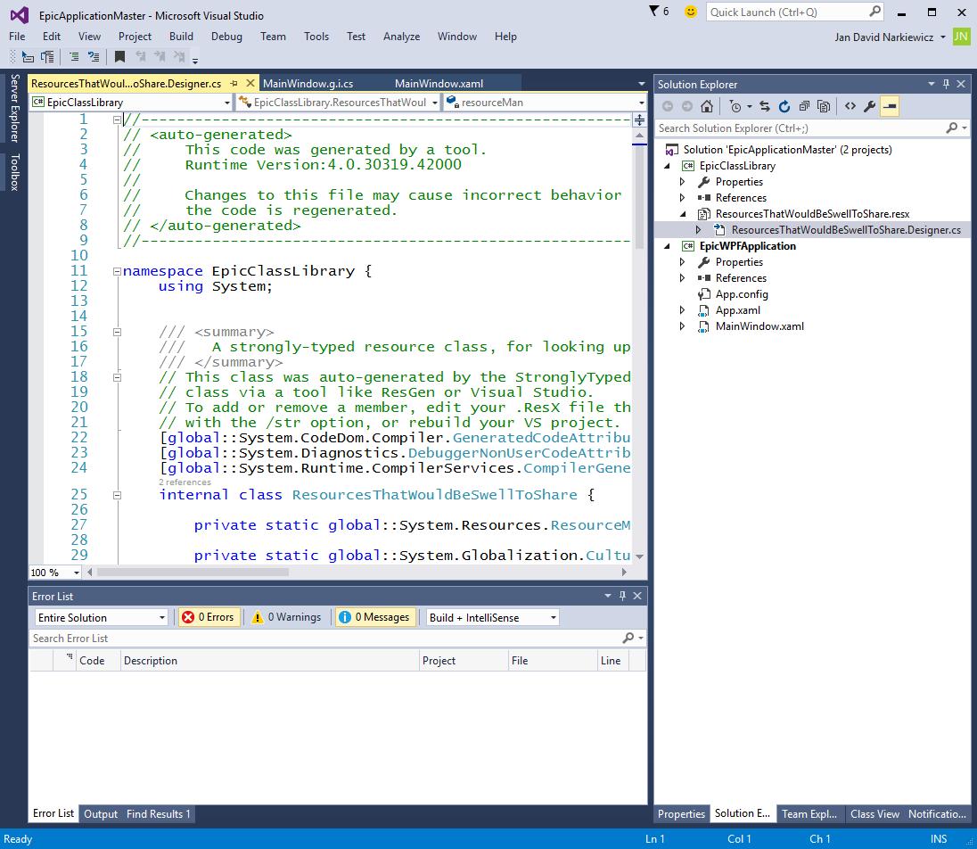 Jan David Narkiewicz (Developer): Visual Studio: Making a