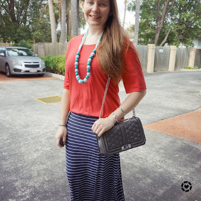 awayfromtheblue instagram | red and navy striped maxi skirt outfit SAHM style with Rebecca Minkoff Love bag