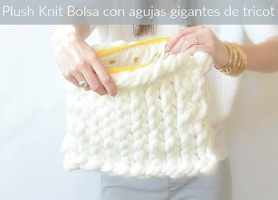 Plush knit bolsa con agujas gigantes tricot