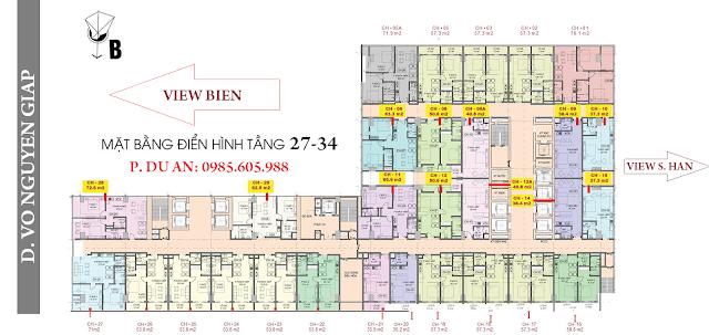 Mặt bằng căn hộ Central Coast Đà nẵng tầng 27 -34