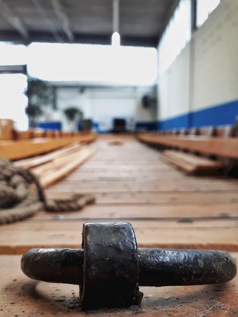 Roman reconstructed ferry boat in Romer museum of Xanten