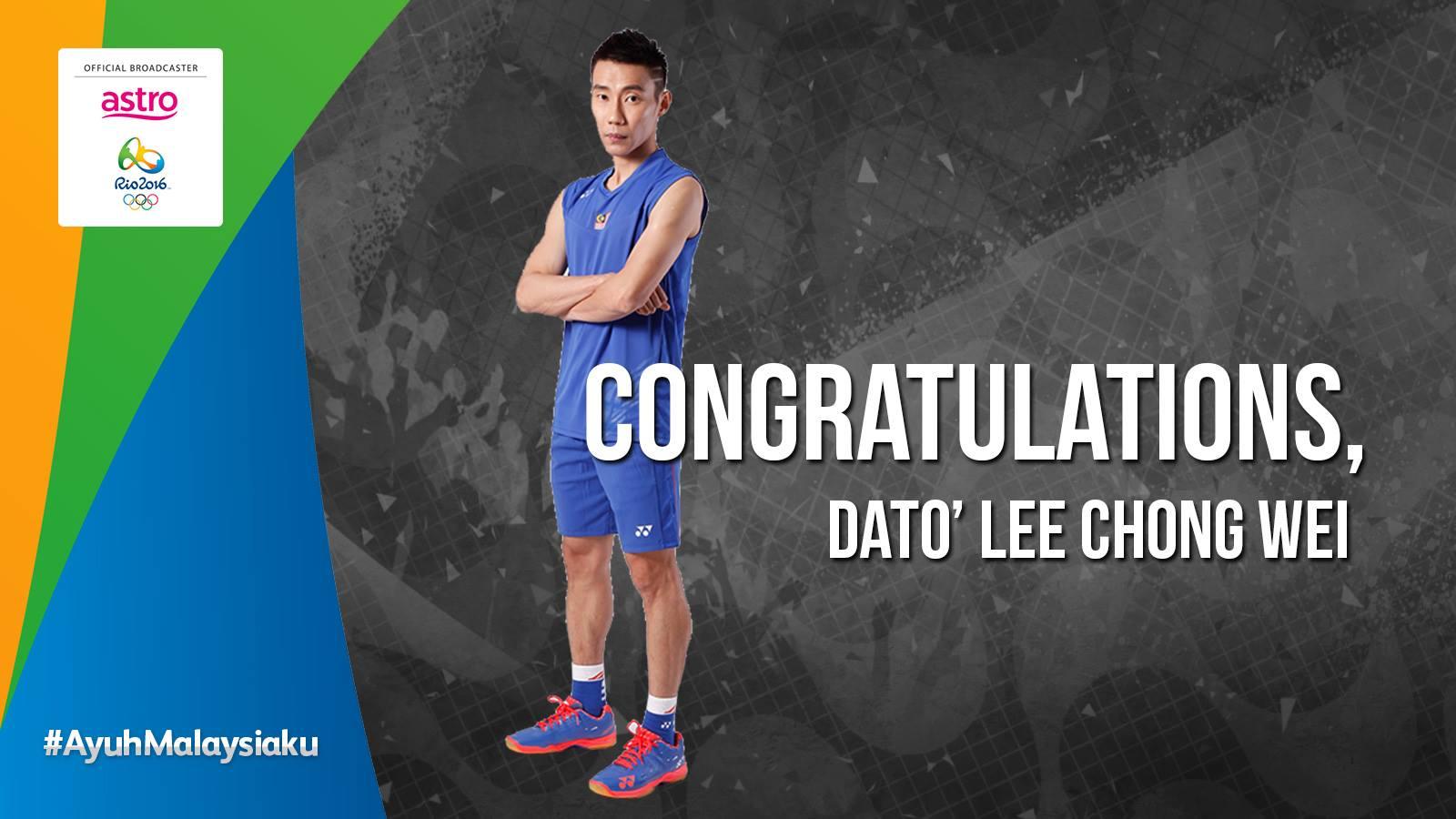 Tahniah Dato' Lee Chong Wei Dapat Mara Ke Final Bdminton Rio 2016!