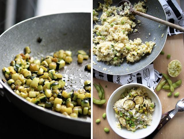Grünes Risotto mit Zucchini und Edamame