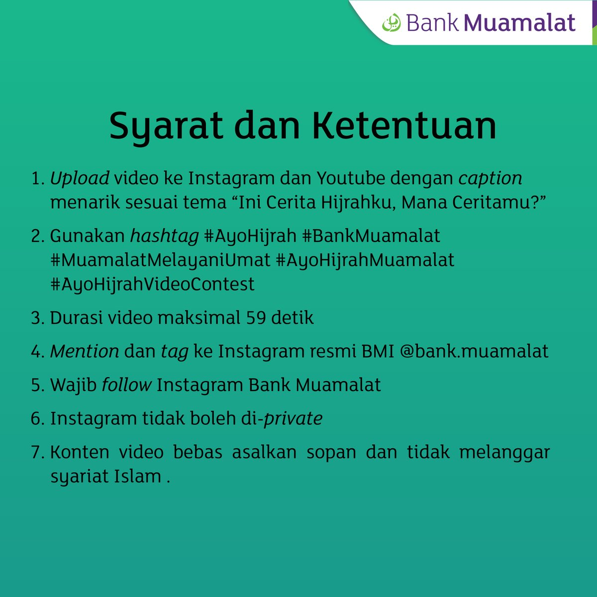 "Bank Muamalat - Promo Video Kontest ""AyoHijrah"" (s.d 19 Okt 2018)"