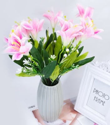 Bunga Plastik / Bunga Artificial Lily Buket (Seri 10K)