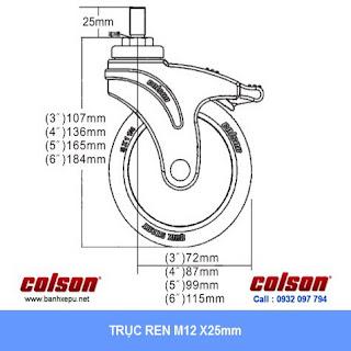 Bảng vẽ kích thước tấm lắp bánh xe đẩy cao su trục ren chịu lực 80kg | STO-4854-448
