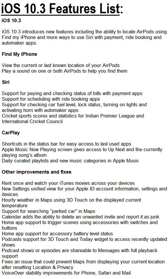 Apple iOS 10.3 Features