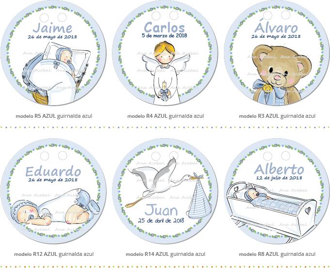 Etiquetas Bautizo nacimiento personalizadas niño