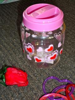 Valentine day sensory bin