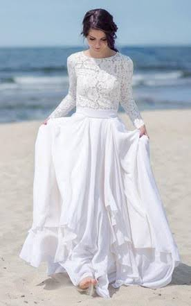 4a84bf23e91c Intricate crochet lace long sleeves top bridal wedding dresses flowy skirt  modest beach wedding dress