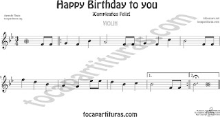 Violín Partitura de Happy birthday to you (Cumpleaños Feliz) Sheet Music for Violin Music Scores