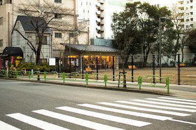 Kabutocho and Kayabacho Machikado Museum from eastern side of Sakamotocho Park, Chuo ward, Tokyo..