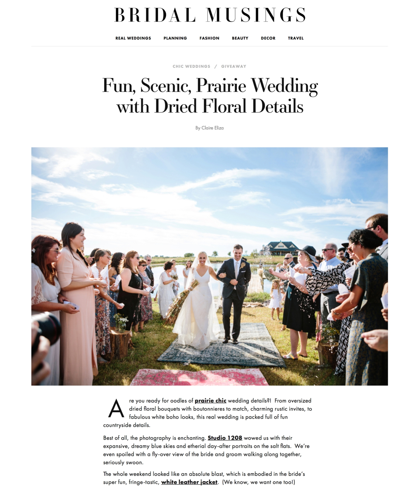 Studio 1208 featured on Bridal Musings for Libby and Ryan's prairie chic destination wedding in Oklahoma