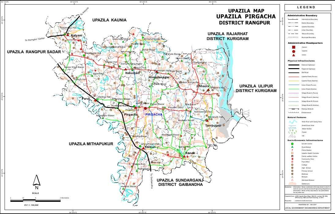Pirgacha Upazila Map Rangpur District Bangladesh