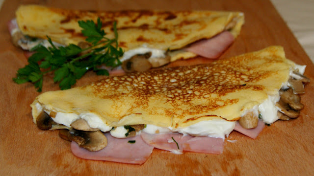 Crepes de jamón y queso light