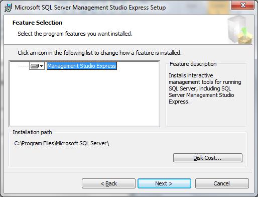 installez SQL Server 2005 sur Windows 8