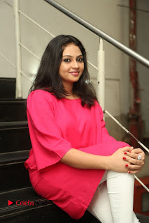 Actress Arundathi Nair Stills in Red Chididar at Bethaludu Success Meet  0097.JPG