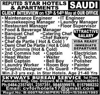 Jobs in reputed Star hotels in Saudi Arabia