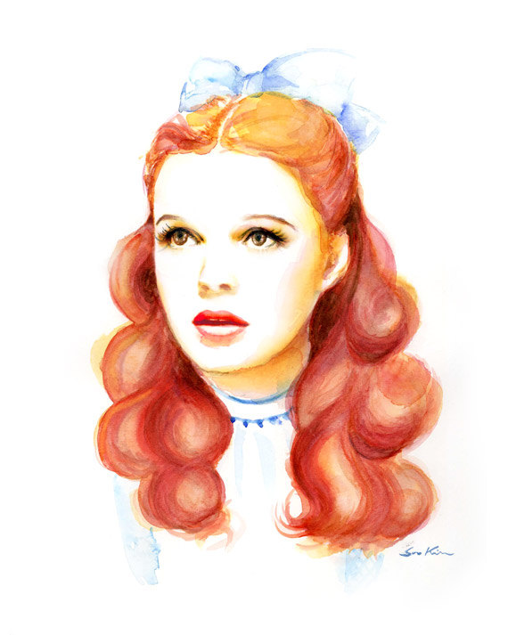 14-Dorothy-The-Wizard-of-Oz-Judy-Garland-Soo-Kim-Celebrity-Watercolor-Portraits-www-designstack-co