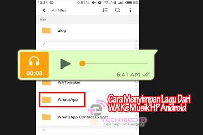 cara menyimpan kiriman lagu dari wa ke pemutar musik hp android