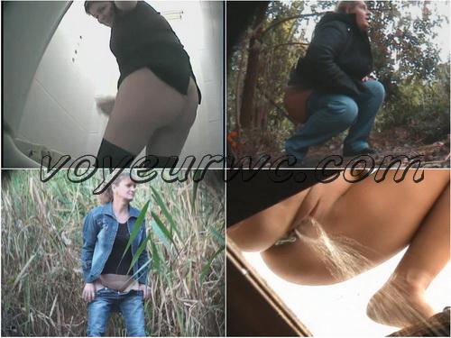 PissHunters 8369-8384 (Outdoor voyeur peeing. Voyeur public toilet spy cam)